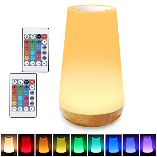 Luce Notturna Bambini, Lampada da Comodino LED, Dimmerabile Lampada Multicolori con Ricaricabile USB, Telecomando, Controllo Tattile, Funzione Timer, e Colori Cangianti RGB