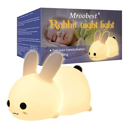 Luce Notturna Bambini, Luce Notturna Led, Night Light, Versione di ricarica USB della luce notturna del coniglio, Adatta ai bambini, È una buona scelta per compleanni e regali