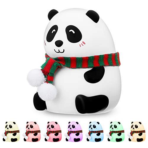Luce Notturna Bambini, SOLMORE Panda Luce Notturna per Bambini in Silicone con Modalità Cambio Colore, Lampada da Comodino USB Ricaricabile con Controllo Touch, Luce Notturna LED per Regalo