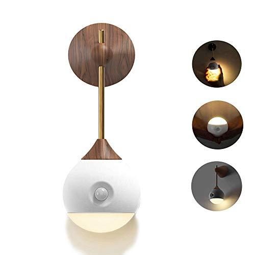 Luce Notturna LED, Automatiche Luce Notturna con Sensore Crepuscolare, Ricarica USB, Nessuna presa Richiesta, può Essere Utilizzato a Casa o in Ufficio (Legna)