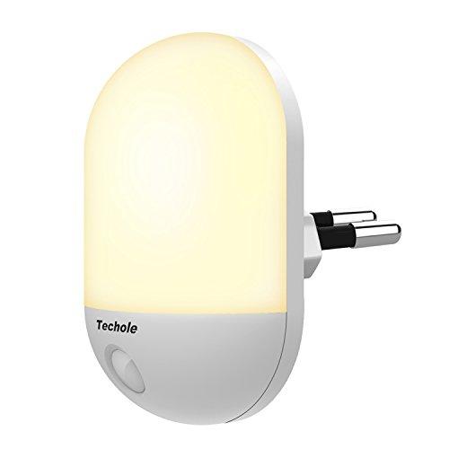 Luce Notturna LED, Techole Automatiche Luce Notturna con Sensore di Luce, Plug-and-Play, Luce Notturna Bambini con Giallo Caldo Luce per Soggiorno, Scala, Corridoi, Bagno, Vivai