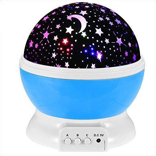 Luce Notturna Proiettore, Rotazione a 360 ° Muta Stella Luce Notturna Bambino Lampada LED Stelle Luna Luci Colorate Modificabili per Bambino Kid Nursery Camera da Letto Decorare Il Regalo (Blue)
