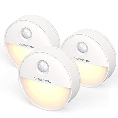Luce Notturna Sensore di Movimento con magnetica (3 Pezzi), Luce Notte LED per Armadio, Scale, Bagni, Corridoi, Cucina, Garage-Bianco caldo