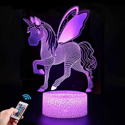 Luce Notturna Unicorno 3D per Bambini, Lampada LED per Ragazza USB Luce Notturna Illusione, 16 colori che Cambiano con Telecomando per Bambini Adulti Regalo di Compleanno e Festa (Unicorno 5)