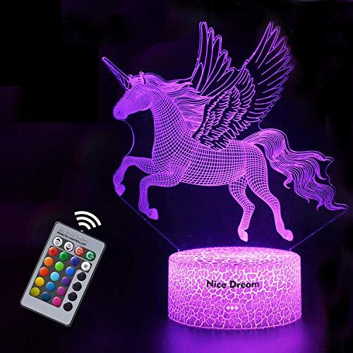 Luce Notturna Unicorno 3D per Bambini, Lampada LED per Ragazza USB Luce Notturna Illusione, 16 colori che Cambiano con Telecomando per Bambini Adulti Regalo di Compleanno e Festa (Unicorno 2)