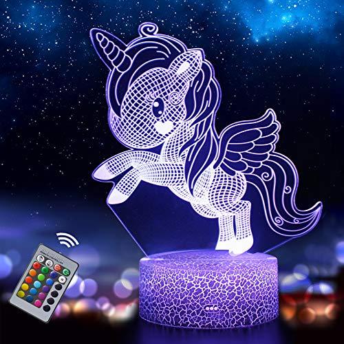 Luce Notturna Unicorno per Bambini, Lampada Illusione 3D 16 Colori Cambiano con Telecomando, Regalo di Compleanno e Natale per Bambine (unicorn3)