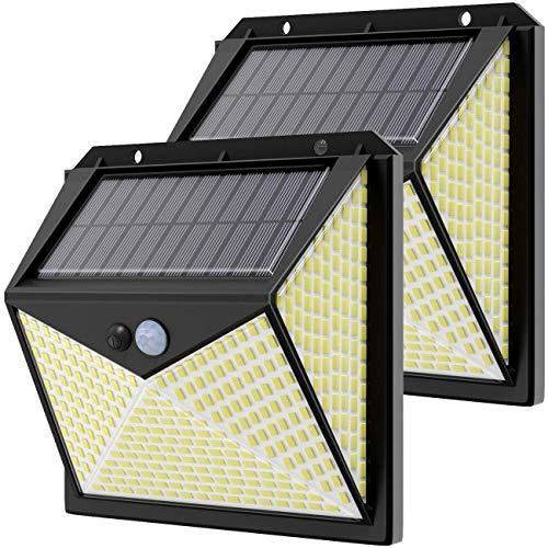 Luce Solare 350 LED Esterno,Hepside Faretti Solari a Led da Esterno con Sensore di Movimento 270°,Impermeabile Agli Schizzi,3 Modalità Lampada Solare da Esterno per Giardino,Parete,Energetico(2 Pezzi)