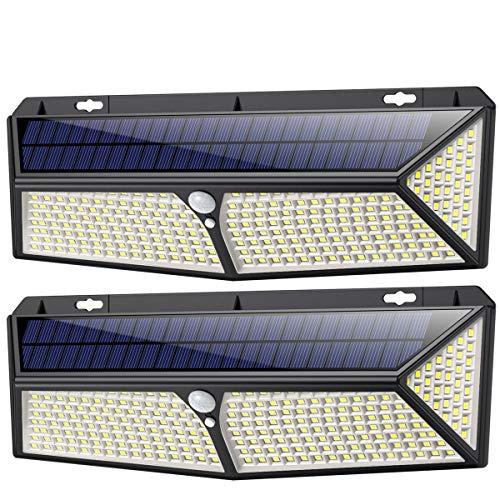 Luce Solare Led Esterno 288LED con Ricarica USB,【2 Pezzi】iPosible Lampade Solari Led esterno Sensore di Movimento 2200LM 270ºIlluminazione Faretto Solare Luce Bianca Fredda Luci Solari Esterno IP65