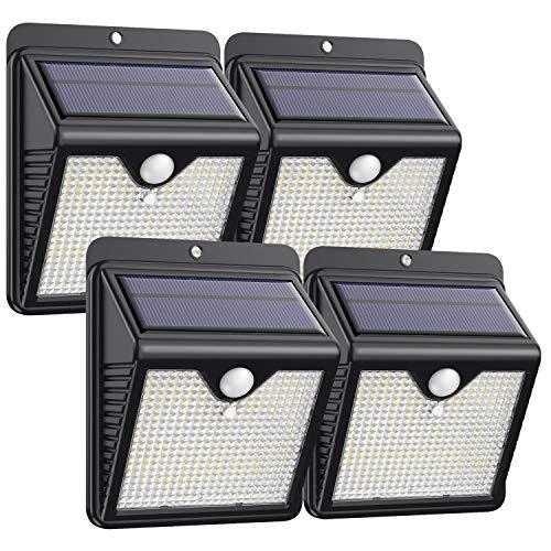 Luce Solare LED Esterno [4 Pezzi],Trswyop 150 LED Lampada Solare da Esterno Luce Led Esterno Solare con Sensore di Movimento Luci Esterno Energia Solare IP65 Luci Solari per Giardino