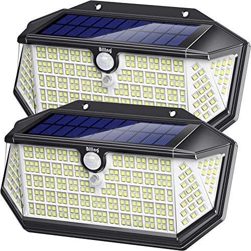 Luce Solare LED Esterno con Riflettore Luci, 266 LED Lampada Solare con Sensore di Movimento,IP65 Impermeabile,270°Angolo Illuminazione,3 Modalità Lampada Solare da Esterno per Giardino (2 Pcs)