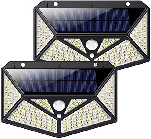 Luce Solare Led Esterno, Kilponen【Illuminazione a 6 Lati 1500LM】Lampada Solare Esterno con Sensore di Movimento 2200mAh Luci Esterno Energia Solare Impermeabile con 3 Modalità - 2 Pezzi