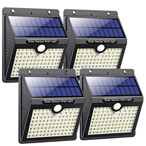 Luce Solare Led Esterno, [Super Luminoso-1000 lumen] Pxwaxpy 97 LED Lampada Solare Esterno con Sensore di Movimento 2000 mAh Luci Esterno Energia Solare Impermeabile con 3 Modalità - 4 Pezzi