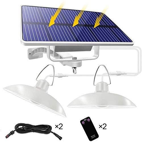Luce Solare Sospesa Illuminazione, IP65 Impermeabile LED Solar Lampada con Telecomando, Luce Solare Esterna/Indoor Con 3M Cavo (Bianco, 32-Bianco-light-1)