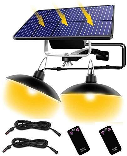 Luce Solare Sospesa Illuminazione, IP65 Impermeabile LED Solar Lampada con Telecomando, Luce Solare Esterna/Indoor Con 3M Cavo (Nero, 32-Warm-light-1)
