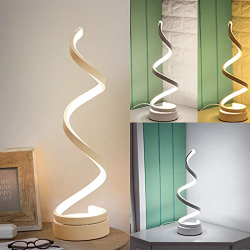 Luce Spirale Lampada da Comodino Lampade da Tavolo LED Regolabile in Tre Colori Luce Calda 20w Basso Consumo Energetico Antiscivolo Adatto Per Illuminazione Decorativa Per Soggiorno Camera da Letto