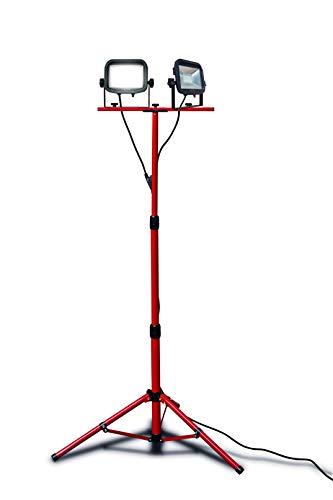 Luceco LSWT218BR3-E2 Doppio Proiettore LED da Lavoro, Ruotabile ed Inclinabile con Treppiede ad Altezza Regolabile, Faretti con Interruttore IP65, 3.600 lm, 44 W, 3 m Cavo Elettrico, Nero/Rosso