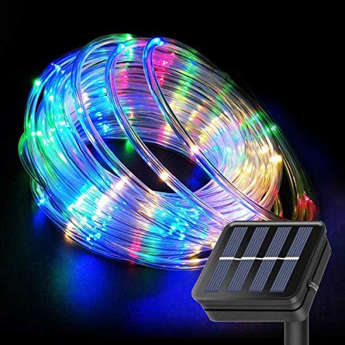 Luci a corda solare 10 m 100 LED con telecomando, illuminazione colorata tubo luci per esterni per giardino, patio, cancello, cortile, decorazione per feste di nozze
