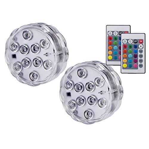 Luci da piscina Luci a LED da immersione con luci subacquee a controllo remoto Luci a LED decorative per illuminazione a sospensione Vaso, acquario, matrimonio, Natale (2 pack)