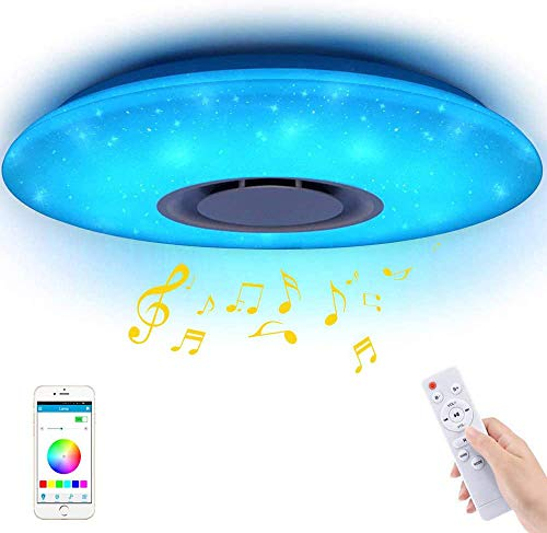 Luci da soffitto a LED per musica 60W, Houkiper Luci per musica Bluetooth Telecomando LED Dimmerabile Plafoniera Stella rotonda RGBW Cambiamento di colore 185-265V APP Telecomando