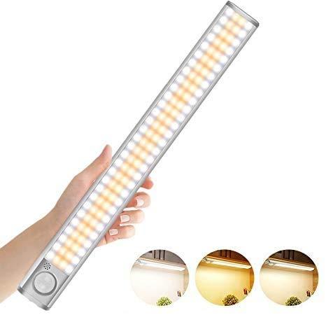 Luci LED Camera da Letto, 3 Colori Luci LED Ricaricabile, 120 LED con Sensore di Movimento, Luce Notturna con Striscia Magnetica, per Armadio/Cucina/Scale/Garage (120LEDs#1)