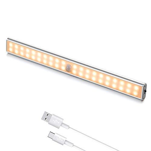 Luci LED Camera da Letto, 40 LED con Sensore di Movimento, Luci LED Ricaricabile con Striscia Magnetica Adesiva per Armadio, Scale, Corridoi, Cucina, Garage (1 Luce Calda)