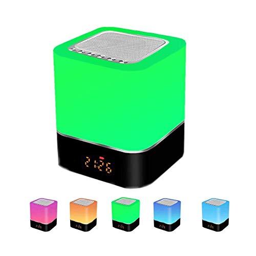 Luci notturne Altoparlante Bluetooth, Careslong Portatili Lampada da Comodino Sensore Touch Dimmerabile 7 colore, Tutto in 1 Lampada Bluetooth altoparlante con sveglia, Lettore MP3/Chiamate Vivavoce