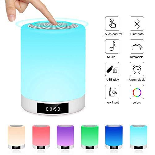 Luci notturne Altoparlante Bluetooth, Ranipobo Touch Sensor Lampada da comodino con sveglia, lettore musicale MP3, radio FM, Touch Control Lampada LED dimmerabile luci calde e 7 colori