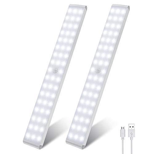 Luci notturne ricaricabile con sensore a 50 LED, luci a led a batteria con sensore di movimento intelligente LED luci da cucina luce morbida per armadio, corridoio, scale (2 pezzi)