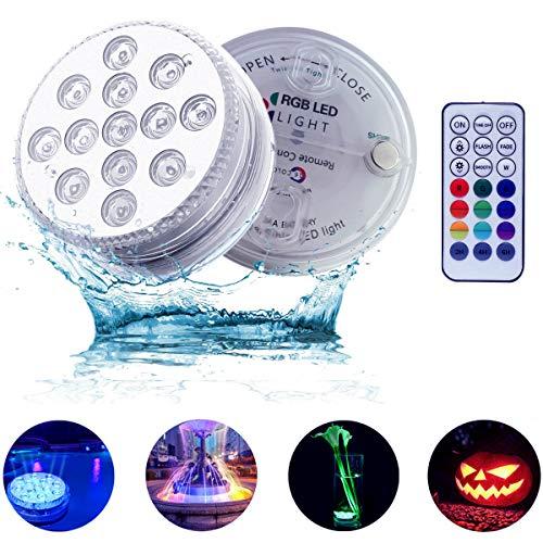 luci piscina led luci per doccia RGB Impermeabile luce con telecomando RF lampada led piscina luci subacquee giardino illuminazione bagno vaso base Natale Wedding(2 pezzi)
