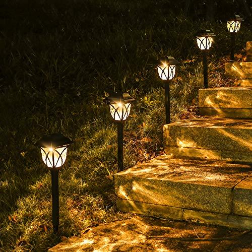 Luci solari a LED da giardino, 6 pezzi, luce bianca calda, lampade solari per esterni, impermeabilità IP65, illuminazione decorativa da giardino, per prato, marciapiedi, paesaggio