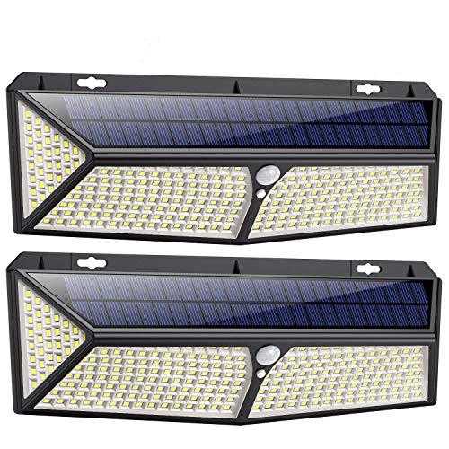 Luci Solari Esterno,【288LED-USB Ricaricabile】Lampade Solari a led da Esterno con Sensore di Movimento,300ºIlluminazione Lampada Solare 3 Modalità Impermeabile Luce Solare led Esterno per Giardino