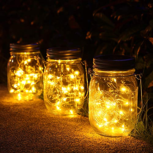 Luci Solari Giardino - 3 Pezzi Lampada Solare 30 LED, Luci LED Solari da Esterno Impermeabile luci del barattolo Solari per da Esterno Giardino Natale Feste Camera da Letto Decorazioni (Bianco caldo)