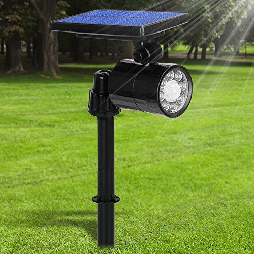 Luci Solari LED Esterno 2 in 1, 800 Lumens Ultra Luminoso, Lampada Solare da Esterno con Sensore di Movimento, Illuminazione Giardino 4 Modalità, 360° Regolabile Orario di Lavoro10 Ore (Bianca Luce)