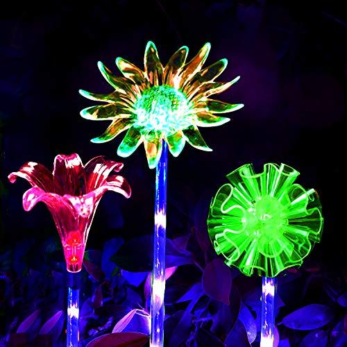 Luci solari per esterni da giardino,Luce Decorativa a LED Che Cambia Colore,Luci Solari Decorative Illuminazione Solare per Cortile,Decorazione da Giardino con Fiori di Giglio(3Pack)
