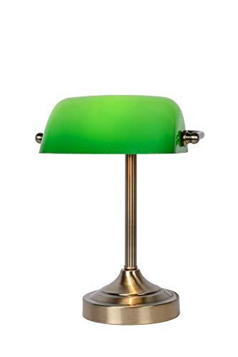 Lucide 17504/01/03 Banker - Lampada da tavolo con paralume in vetro, E14, colore: Verde