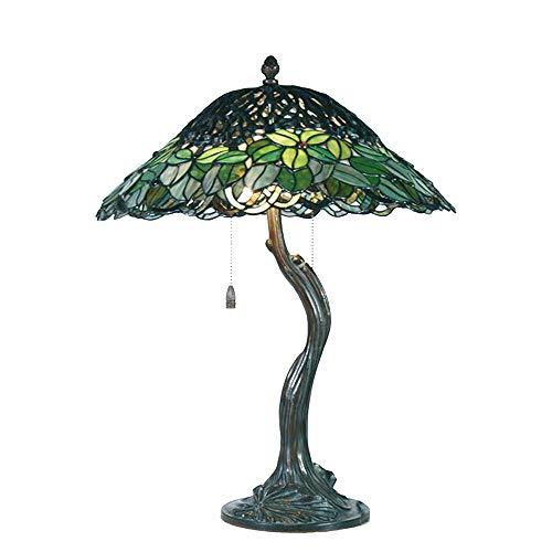 """Lumilamp 5LL-53866 - Lampada da tavolo Tiffany, stile """"albero"""", Ø 47 x 58 cm, 2 lampadine E27 max 60 W, in vetro colorato, fatto a mano, stile tiffany"""