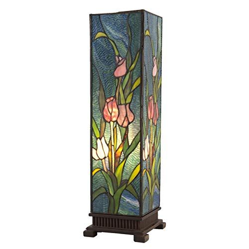 Lumilamp 5LL-5749 - Lampada da tavolo Art Deco Tiffany, motivo floreale, multicolore, 17,5 x 17,5 x 58,5 cm, 1 lampadina E27 max. 60 W, in vetro colorato, stile tiffany