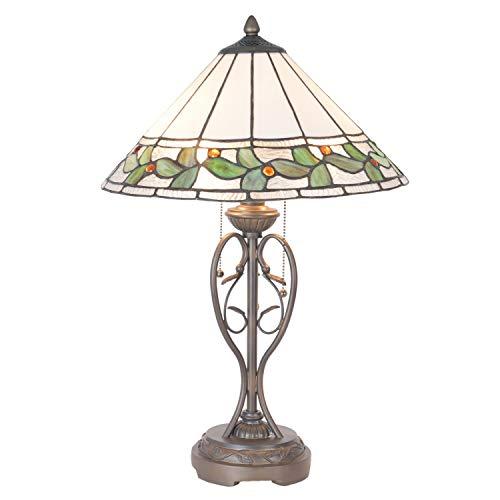 Lumilamp 5LL-5860 - Lampada da tavolo Art Deco Tiffany Style, Ø 40 x 62 cm, E27, max. 2 x 60 W, in vetro colorato