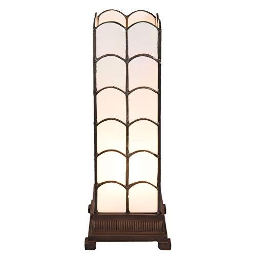 LumiLamp 5LL-5929 - Lampada da Tavolo Art Deco Tiffany, 14 x 14 x 36 cm, E14/max 1 x 25 W, Vetro colorato Decorativo, Stile Tiffany, Colore: Bianco