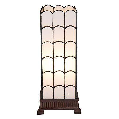 Lumilamp 5LL-5930 - Lampada da tavolo Art Deco, stile Tiffany, 17 x 17 x 45 cm, attacco E27, max 1 x 40 W, in vetro colorato, stile tiffany