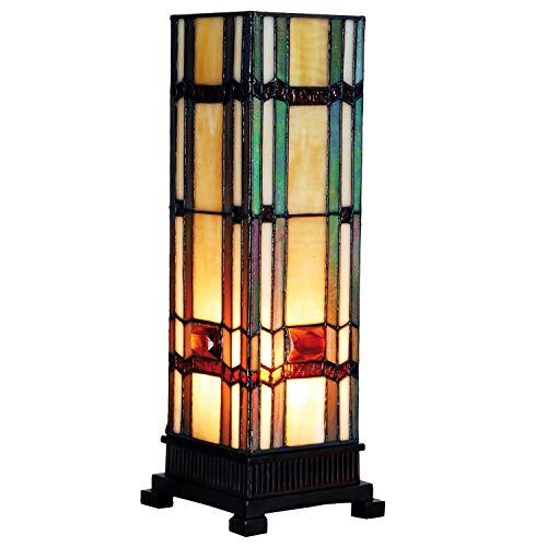 Lumilamp 5LL-9024 - Lampada a colonna, stile Tiffany, 12,5 x 35 cm, 1 lampadina E14 max 40 W, in vetro colorato, stile tiffany