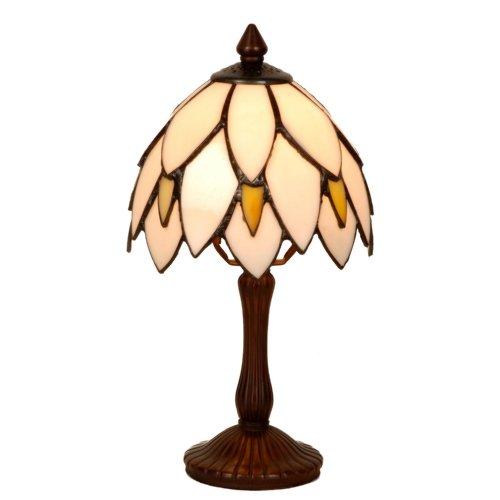 Lumilamp 5LL-963 - Lampada da tavolo in stile Tiffany, Ø 18 x 34 cm, 1x E14, max 25 W, vetro decorativo colorato, realizzata a mano, paralume in vetro