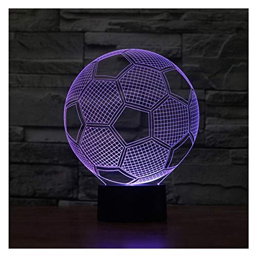lunaoo Luce Notte Bambini, Lampada 3D Calcio Lampada da Tavolo, 7 Cambiamento di Colore Luce Notturna per Cameretta Comodino