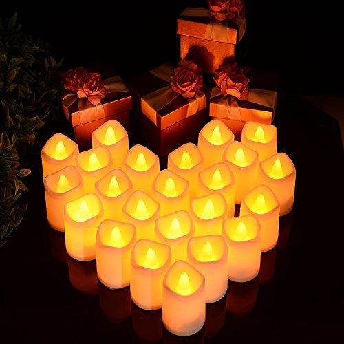 Lunsy Candele LED senza fiamma, candele a LED tremolanti, candele per Halloween, albero di Natale, Pasqua, matrimoni, feste e molto altro (24 pezzi)