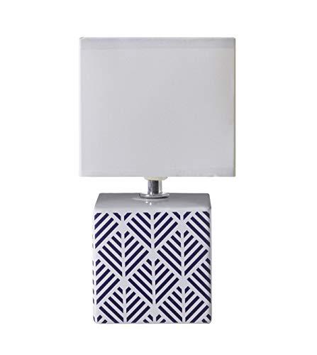 LUSSIOL Lampada da Comodino Carolina Lampada Decorativa Ceramica 40W Blu L11xH22cm