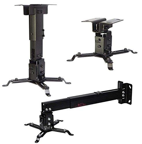 Luxburg® supporto a soffitto universale in Alluminio per montaggio priettore 10-20cm tiene 15kg 30 gradi - Nero