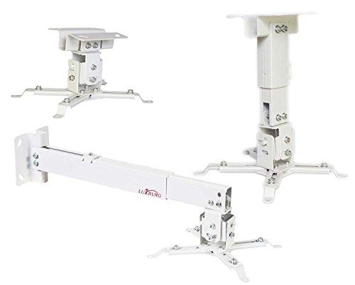 Luxburg® supporto a soffitto universale in Alluminio per montaggio priettore 43-65cm tiene 15kg 30 gradi - Bianco