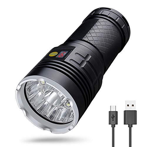 LUXJUMPER Torcia a 18 LED Super Luminosa 18000 Lumen Torcia ad alta Potenza Ricaricabile 4 pezzi Batterie Incorporate USB 4 Modalità Torcia Tattica a Mano Per Campeggio Escursionismo Pesca