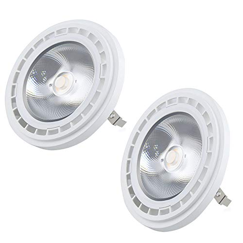 Luxvista AR111 G53 - Lampadina a LED COB, 12 W, luce bianca calda, 3000 K, QR111, 1200 lumen, equivalente a lampadina alogena da 120 W, 2 pezzi, non dimmerabili