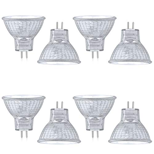 Luxvista Lampada Alogena MR11 GU4/G4 20W, AC/DC 12-24V Riflettore Alogena di Bianco Caldo 2800k, 30° di Raggio Luminoso GU4 Bi-pin Base Faretti da Incasso per Cappa Cucina Giardino Bagno (8-Pezzi)